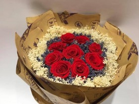 Hoa hồng đỏ mix lavender, bloom trắng